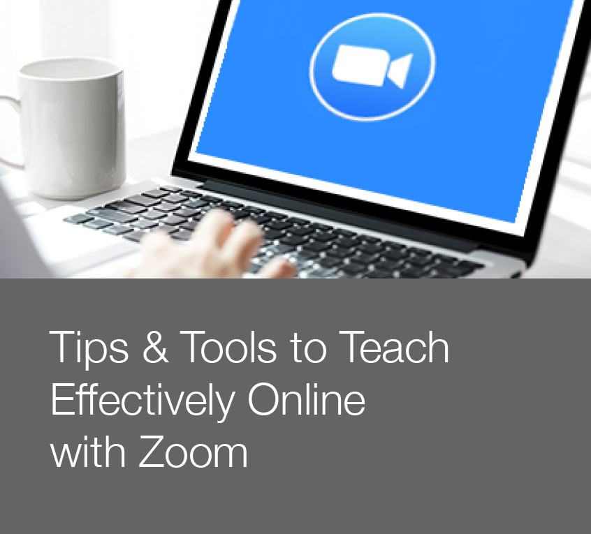 Stock photo promoting tips and tools to teach effectively online with Zoom