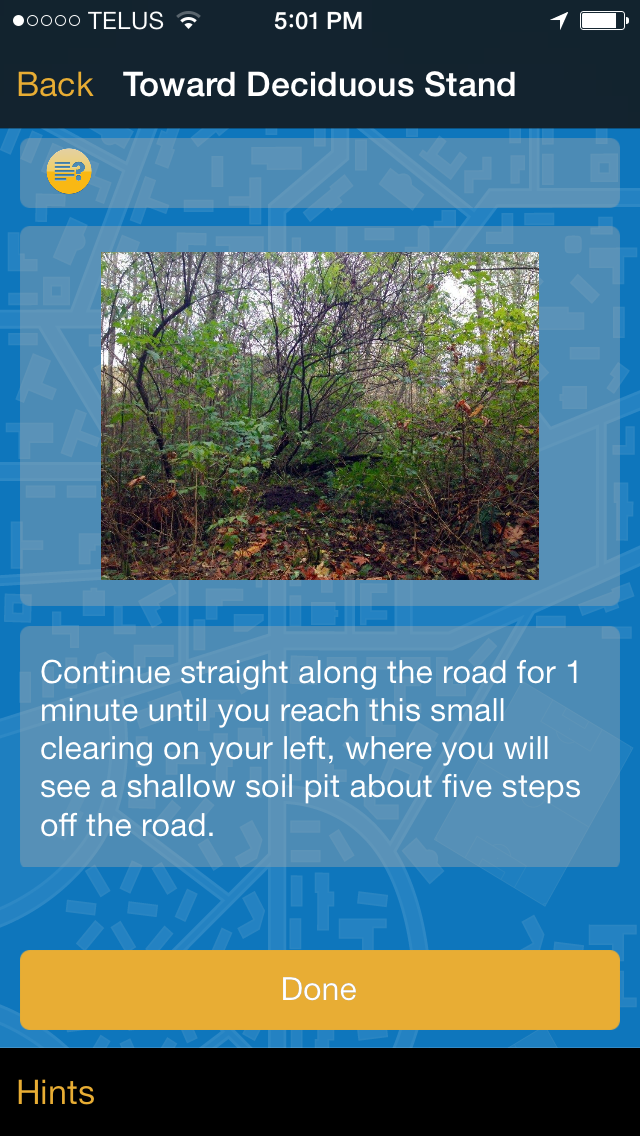 screenshot of a phone app page titled Toward Deciduous Stand