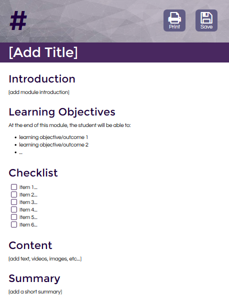 This HTML template from the Hybrid Learning Initiative guides instructors in the planning of a consistent and easy-to-follow structure for each course. Faculty are taught how to manipulate and create content within the HTML templates so they can maintain their courses after deployment