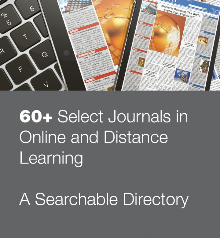 Stock photo promoting searchable directory of journals in online learning