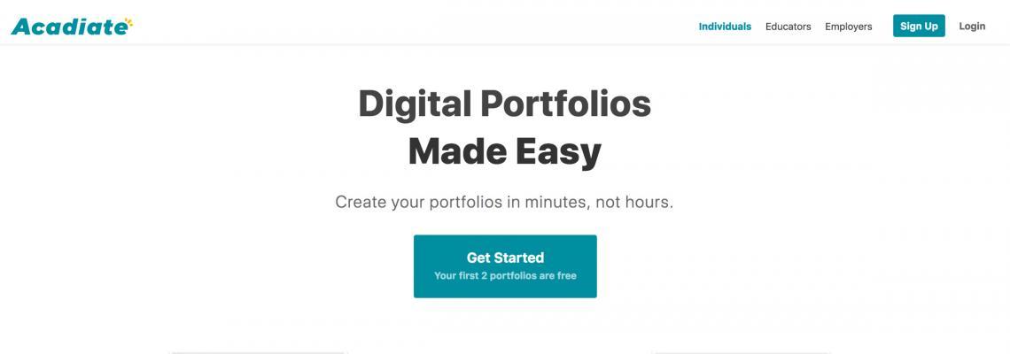 Page banner. Acadiate website homepage