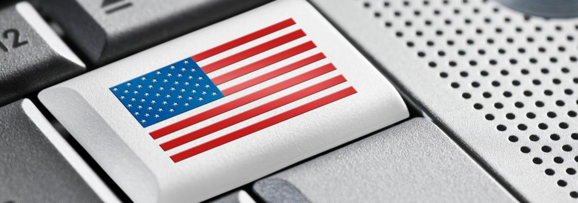 The backspace key with the American flag on it