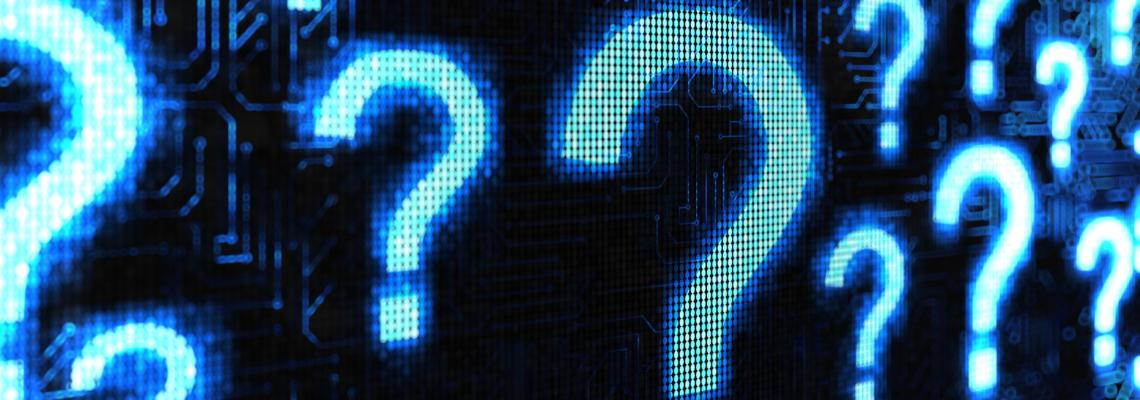 page banner image. multiple question marks