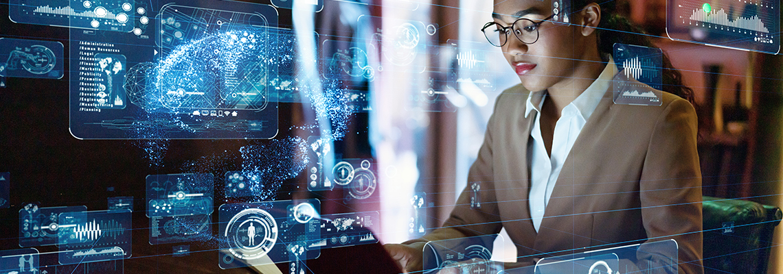"""Page banner image. Woman using """"futuristic"""" technology"""