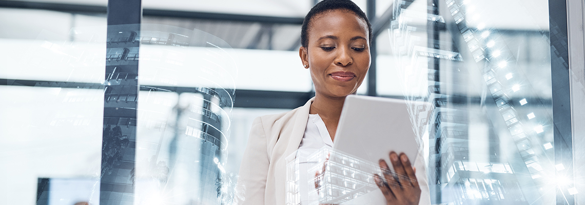 Page banner image. Woman holding tablet