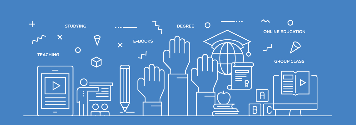 Graphic of hands, school books, mobile device, school-related words and symbols