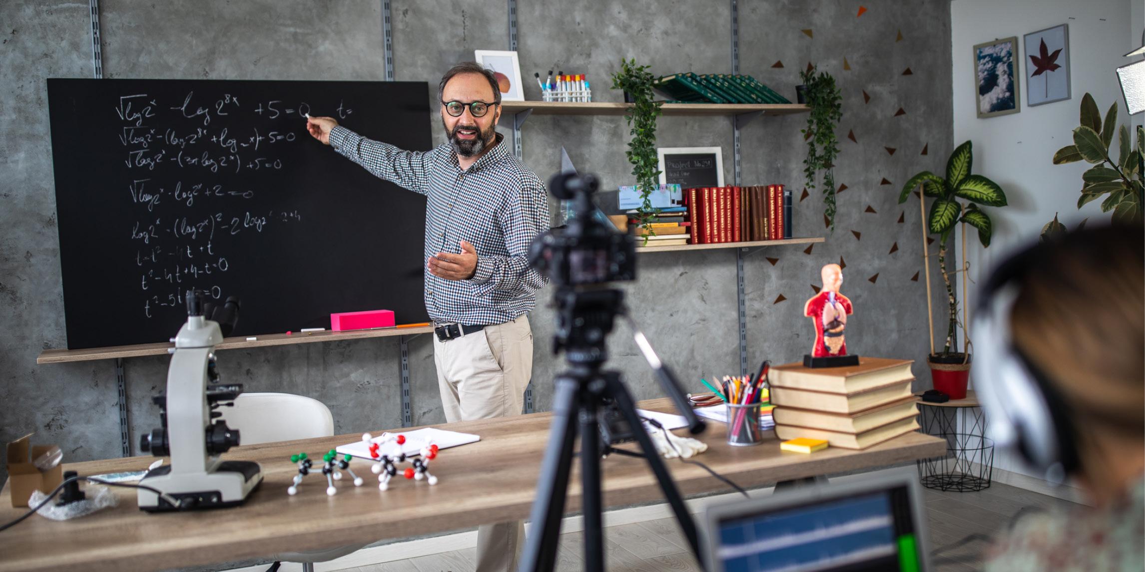 A teacher recording a lecture